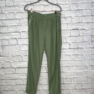 Rebecca Taylor Zipper-Pockets Pants Silk Green